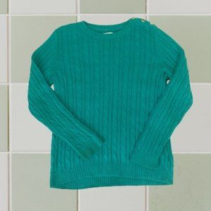 Croft & Barrow Cable Knit Green Crew Neck Sweater